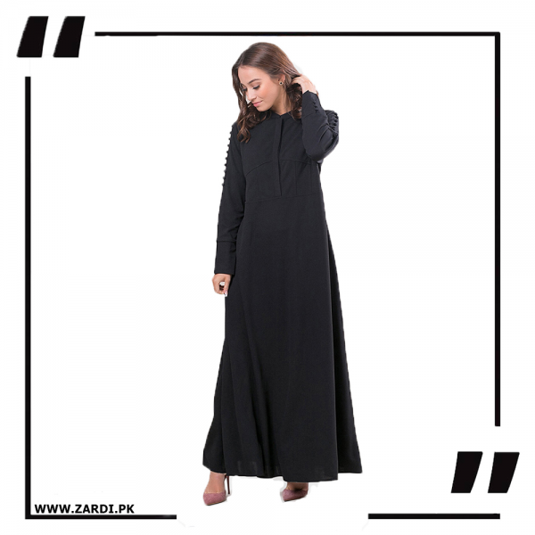 AA06 Black Maxi with A Line Style black -2 PNG