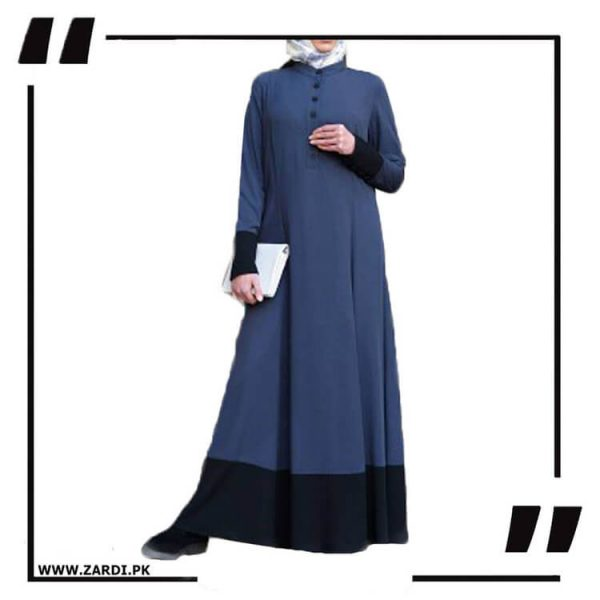 AA07 Blue With Black Twotone Long Maxy Abaya