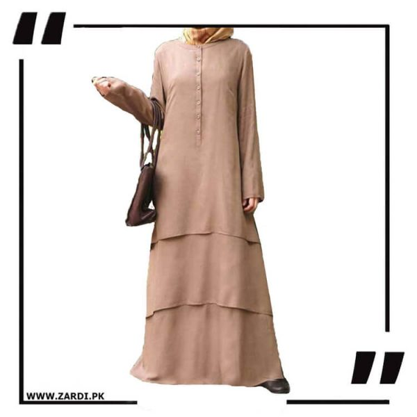 AA09 Nude Three Layerd Abaya New Design