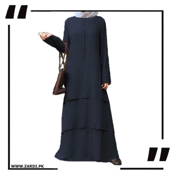 AA09 black Three Layerd Abaya New Design