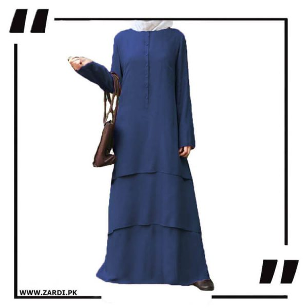 AA09 blue Three Layerd Abaya New Design