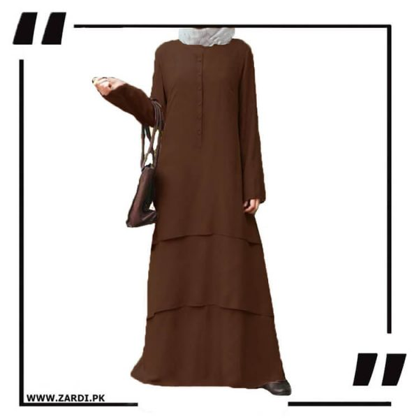AA09 brown Three Layerd Abaya New Design