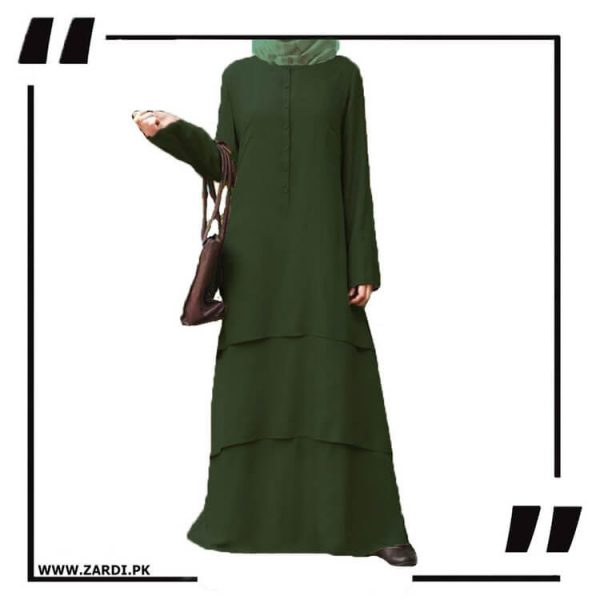 AA09 green Three Layerd Abaya New Design