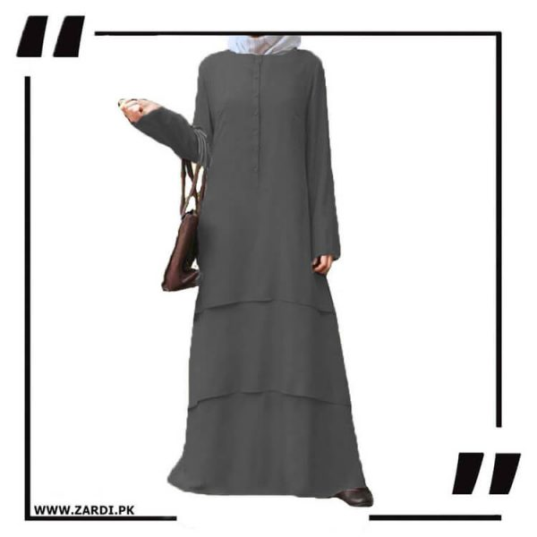 AA09 grey Three Layerd Abaya New Design