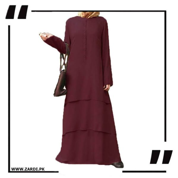 AA09 mahroon Three Layerd Abaya New Design