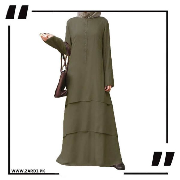 AA09 olive Three Layerd Abaya New Design