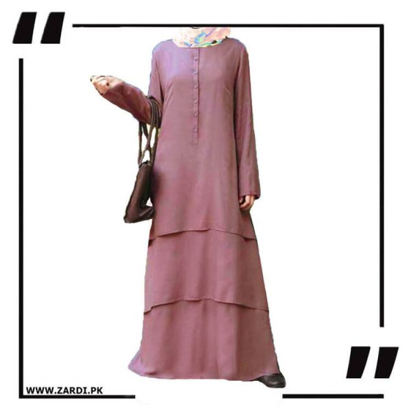 AA09 pink Three Layerd Abaya New Design