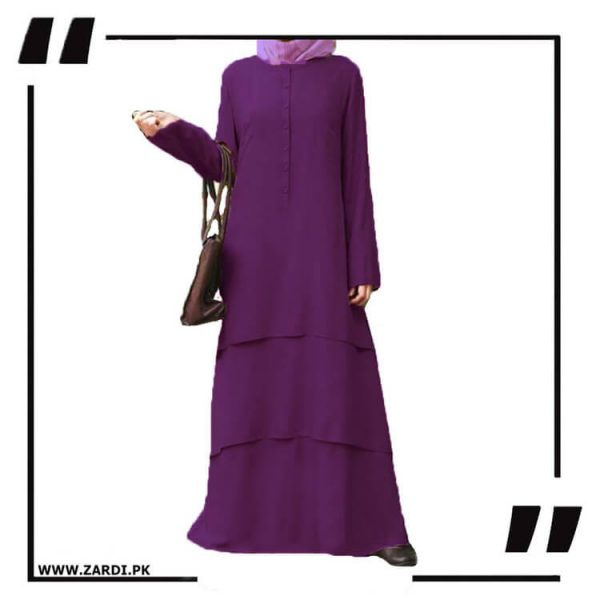 AA09 purple Three Layerd Abaya New Design