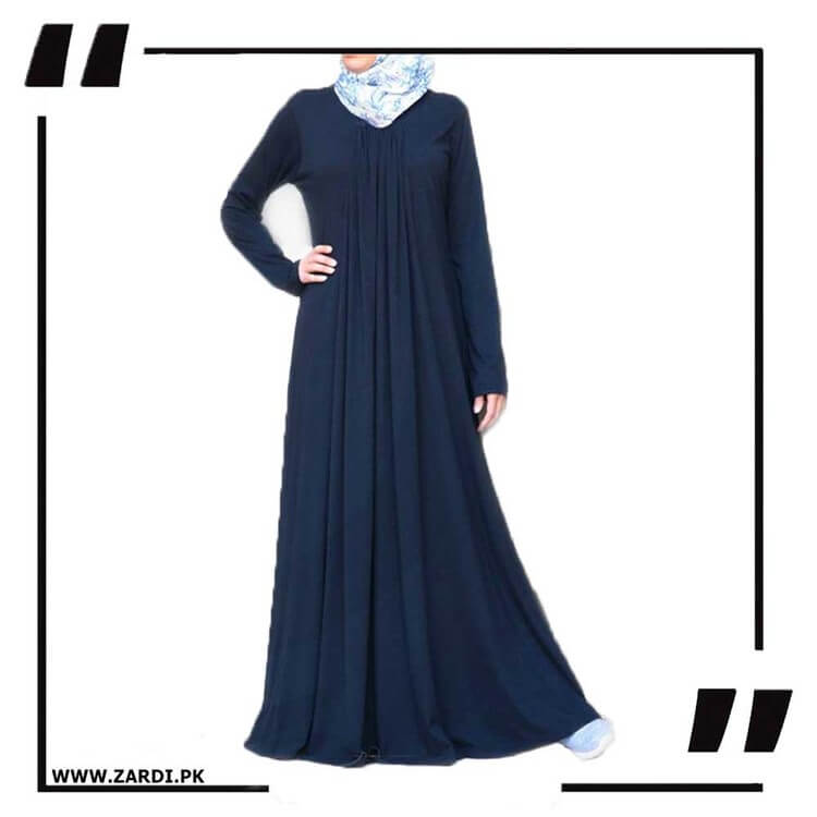 blue Flared Simple Dress Abaya
