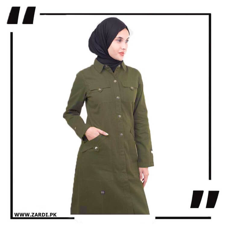 Army Green Front Open Coat Abaya