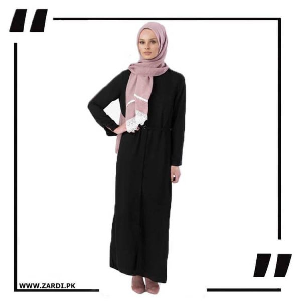 AA17 black Front Open Coat with Belt Touch Abaya