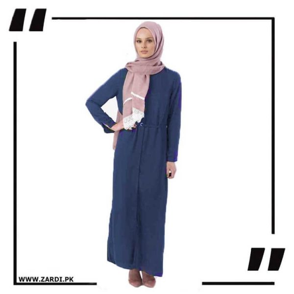 AA17 blue Front Open Coat with Belt Touch Abaya