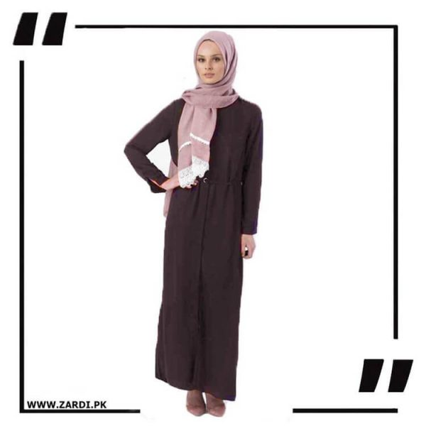 AA17 brown Front Open Coat with Belt Touch Abaya