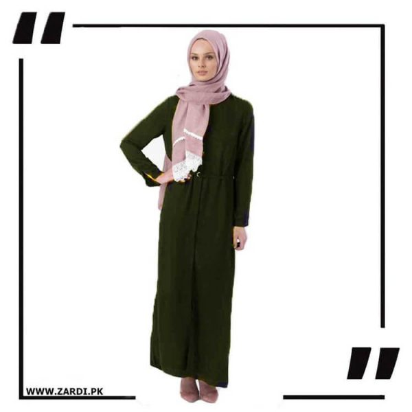 AA17 green Front Open Coat with Belt Touch Abaya
