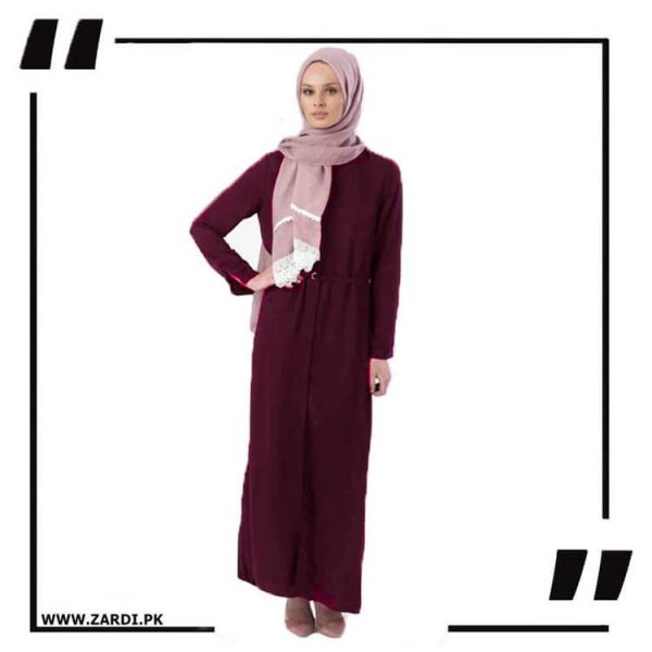 AA17 mahroon Front Open Coat with Belt Touch Abaya