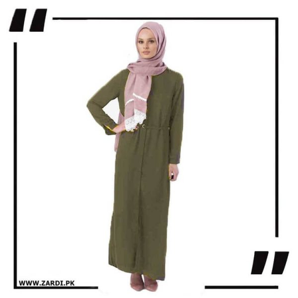 AA17 olive Front Open Coat with Belt Touch Abaya