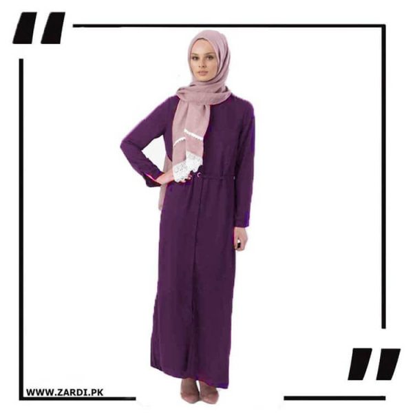 AA17 purple Front Open Coat with Belt Touch Abaya