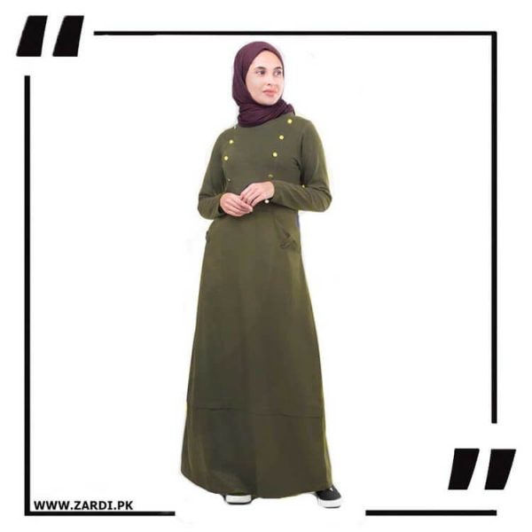 AA18 olive Golden Buttons Maxi Abaya