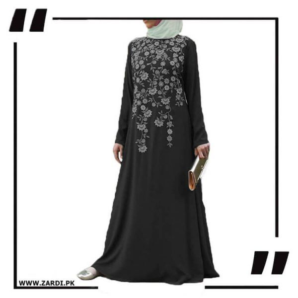 AA19 black Tree Embroidered Maxi Abaya
