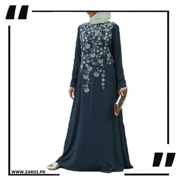 AA19 blue Tree Embroidered Maxi Abaya