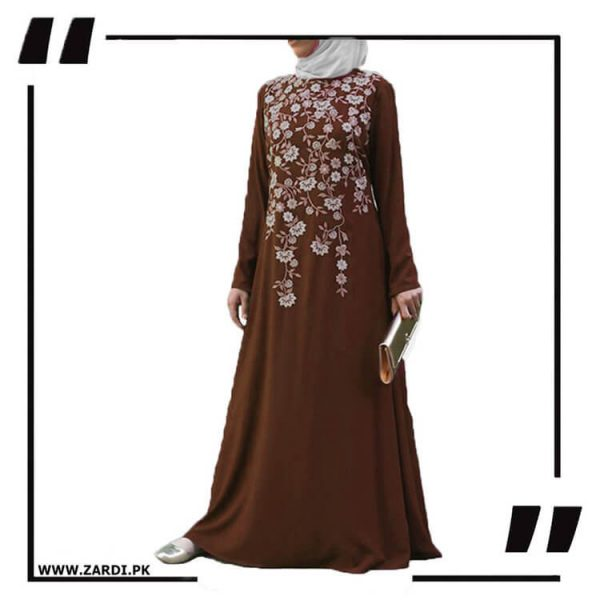 AA19 brown Tree Embroidered Maxi Abaya