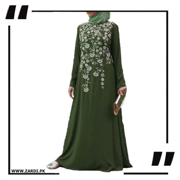 AA19 green Tree Embroidered Maxi Abaya