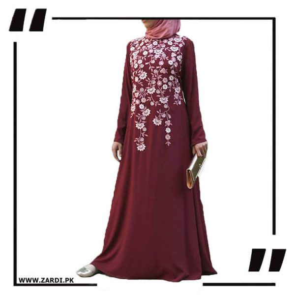 AA19 mahroon Tree Embroidered Maxi Abaya