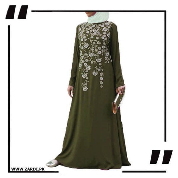 AA19 olive Tree Embroidered Maxi Abaya