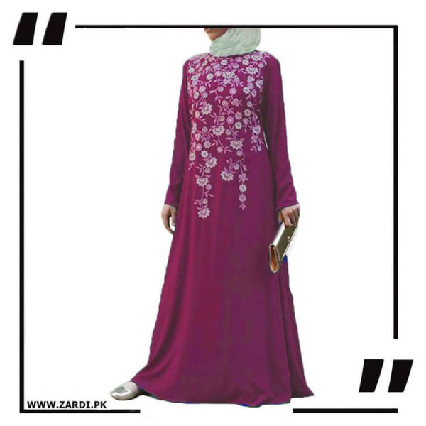 AA19 pink Tree Embroidered Maxi Abaya