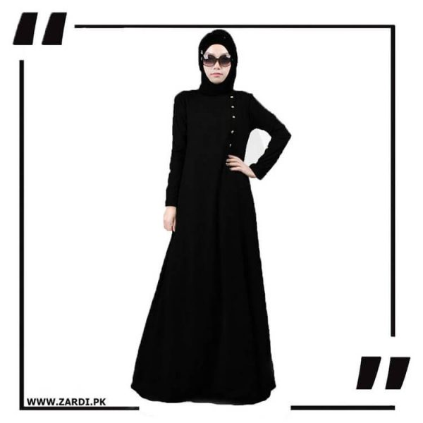 AA22 Black Maxi Button Abaya