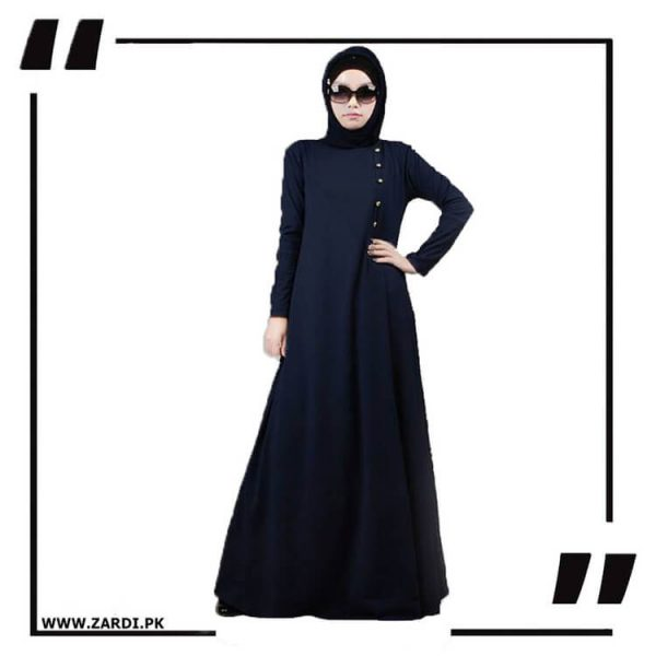 AA22 blue Maxi Button Abaya