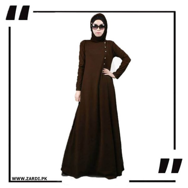 AA22 brown Maxi Button Abaya