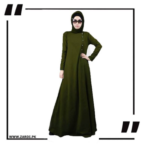 AA22 green Maxi Button Abaya