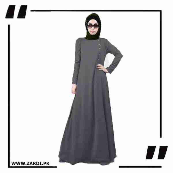 AA22 grey new maxi button abaya