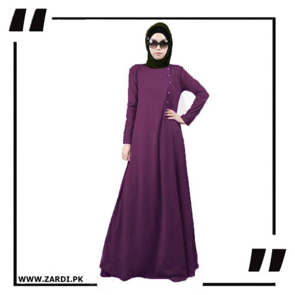 AA22 purple Maxi Button Abaya
