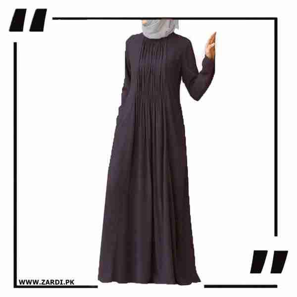 AA23 brown Ruched Abaya