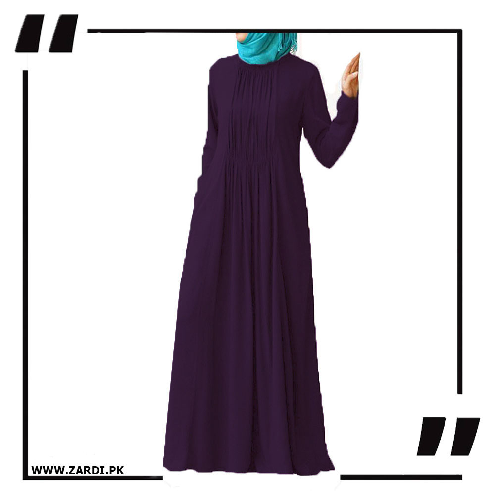 purple Ruched Abaya