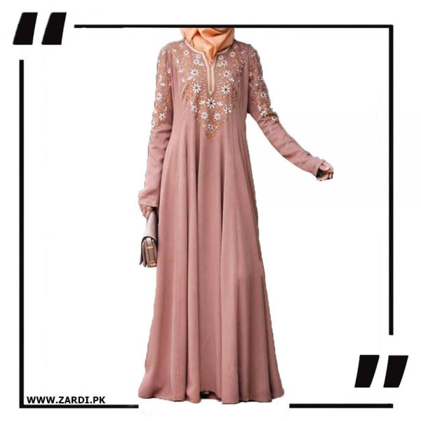 AA26 Nude Embroidered Abaya with V Neck