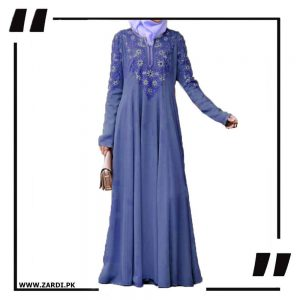blue Embroidered Abaya with V Neck