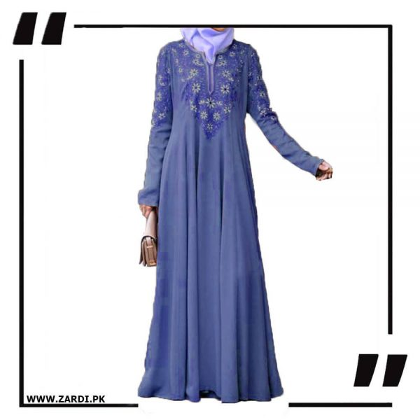 AA26 blue Embroidered Abaya with V Neck