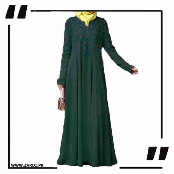 AA26 green Embroidered Abaya with V Neck