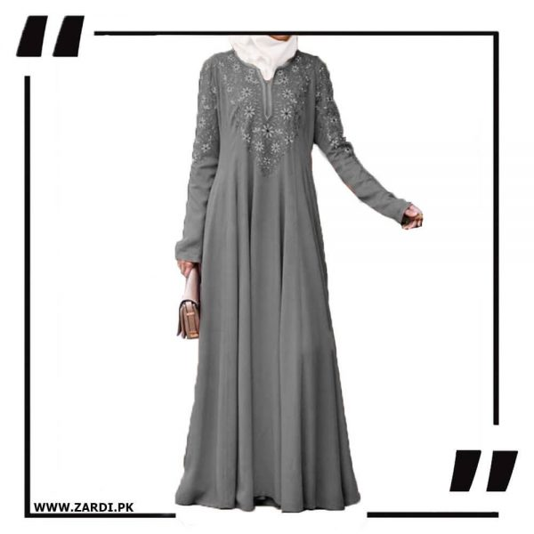 AA26 grey Embroidered Abaya with V Neck