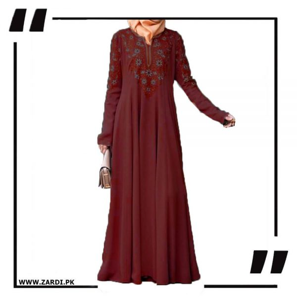 AA26 mahroonEmbroidered Abaya with V Neck