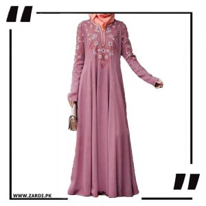 pink Embroidered Abaya with V Neck