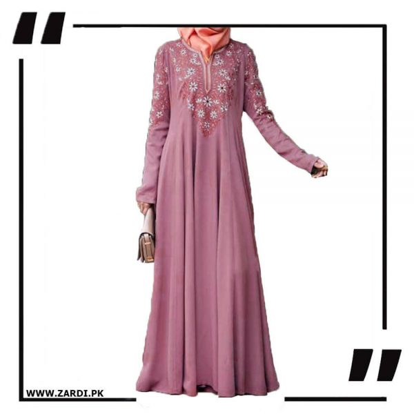 AA26 pink Embroidered Abaya with V Neck