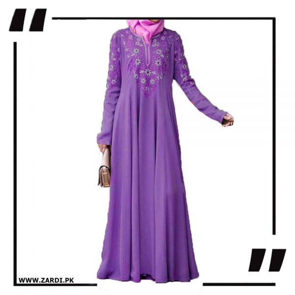 AA26 purple Embroidered Abaya with V Neck