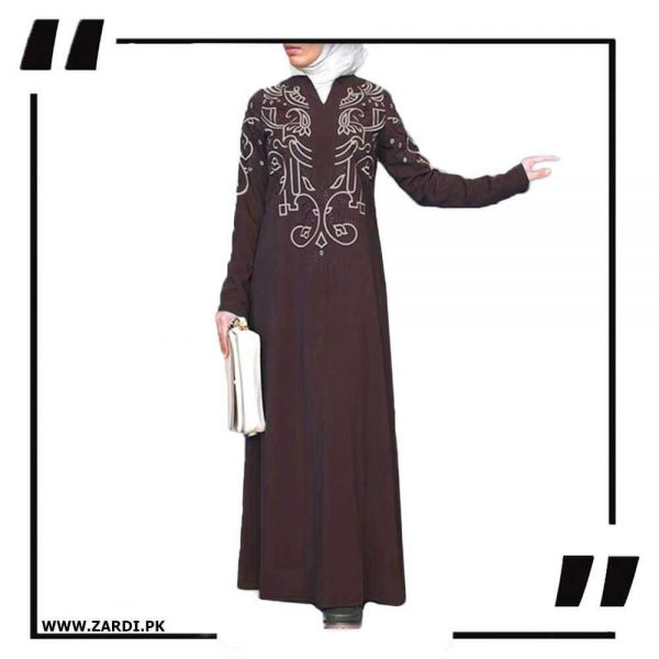 AA27 brown White Embroidered Abaya