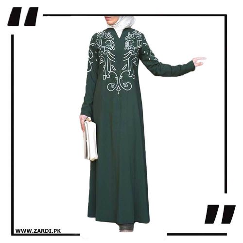 green White Embroidered Abaya