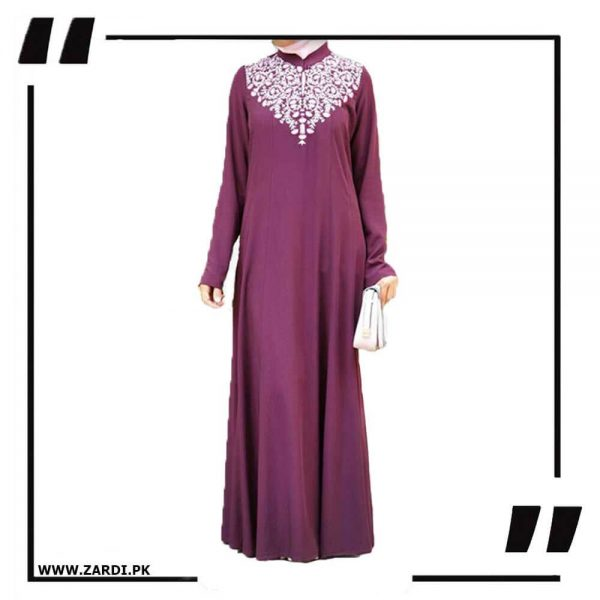 AA32 Purple Neckless White Embroidery Maxi