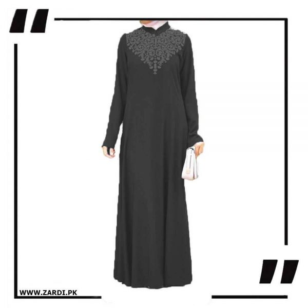 AA32 black Neckless White Embroidery Maxi